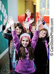 lycklig, barn, grupp, in, skola