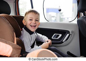 lycklig, barn, le, i bil, säte