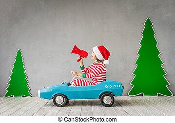 lycklig, barn, på, julafton