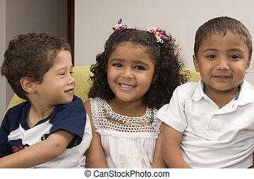 lycklig, barn, tre