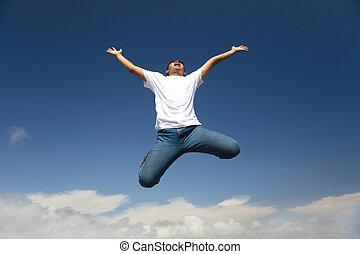 lycklig, bemanna hoppa, med, blåttsky, bakgrund