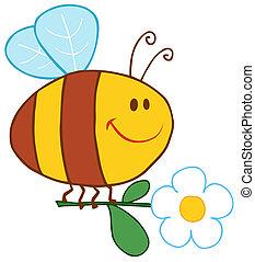 lycklig, bi, flygning, med, blomma