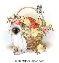 lycklig, birday, card., siamesisk, kattunge, fjäril, och, korg, med, roses.