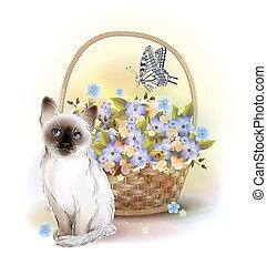 lycklig, birday, card., siamesisk, kattunge, fjäril, och, korg, med, violets.
