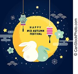 lycklig, bland, höst, festival., vektor, baner, bakgrund, och, affisch