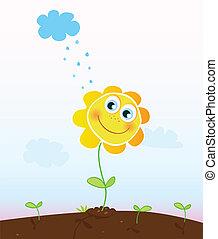 lycklig, blomma