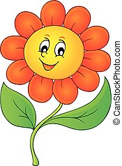 lycklig, blomma, tema, avbild, 3