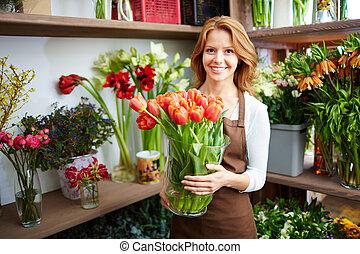 lycklig, blomsterhandlare