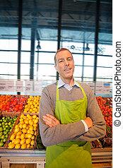 lycklig, butik, supermarket, ägare