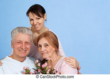 lycklig, caucasian, äldre kvinna