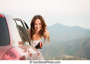 lycklig, chaufför, kvinna, på, sommar ferier