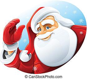 lycklig, claus, hälsning, jultomten, ansikte