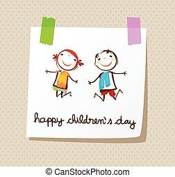 lycklig, dag, childrens