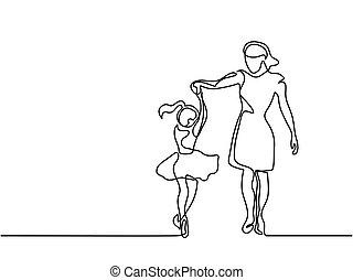 lycklig, dansande, kvinna, -, kontinuerlig, teckna fodra