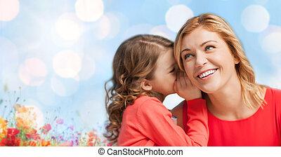 lycklig, dotter, viskande, skvaller, till, henne, mor
