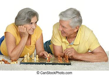 lycklig, elderly kopplar ihop