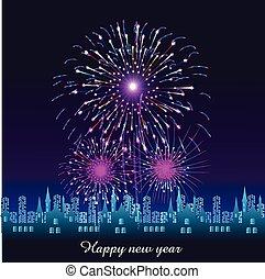 lycklig, färsk, fireworks, år