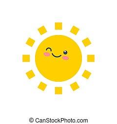 lycklig, face., rolig, söt, le, sun., lurar, solsken