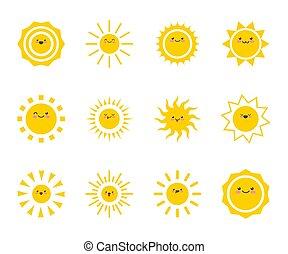 lycklig, face., rolig, söt, sun., lurar, solsken, smiley