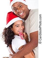 lycklig, fader, krama, dotter, jul