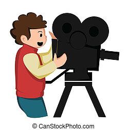 lycklig, filma, den, bio