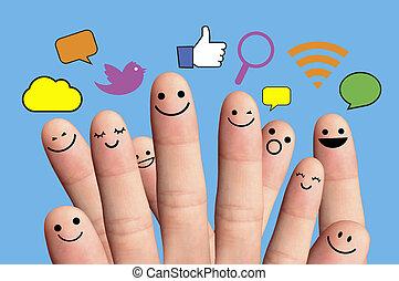 lycklig, finger, smileys, nätverk