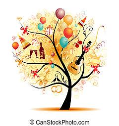 lycklig, firande, rolig, träd, med, helgdag, symboler