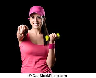 lycklig, fitness, flicka, arbete ut