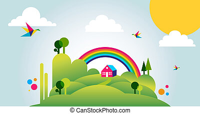 lycklig, fjädertid, landskap, illustration, bakgrund