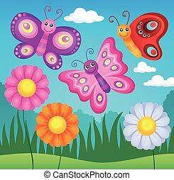 lycklig, fjärilar, tema, avbild, 3