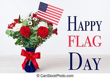 lycklig, flagga, dag, bakgrund