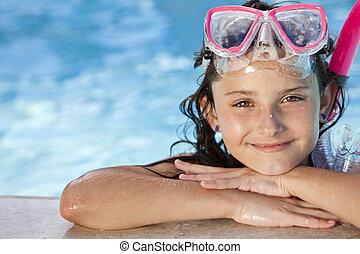 lycklig, flicka, barn, in, badbassäng, med, goggles, och,...