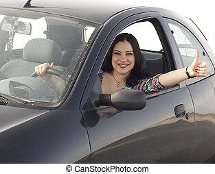 lycklig, flicka, i bilen