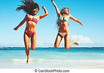 lycklig, flickor, stranden
