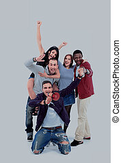 lycklig, folk grupp, med, havsarm uppe, -, isolerat, över, vit