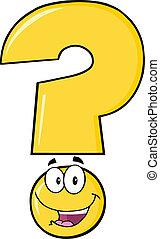 lycklig, fråga, gul markera