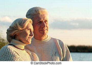 lycklig, gammal, par
