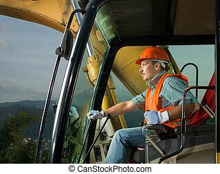lycklig, grävmaskin, chaufför