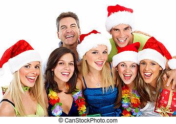 lycklig, group., jul, folk