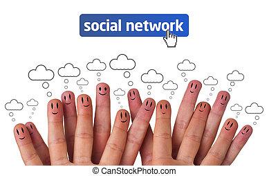 lycklig, grupp, av, finger, smileys, med, social, nätverk,...