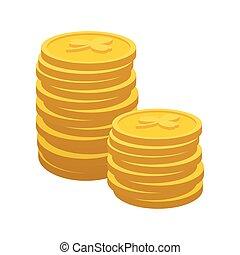 lycklig, guldmynt, tecknad film, ikon