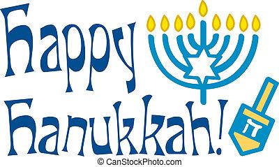 lycklig, hälsning, chanukkah