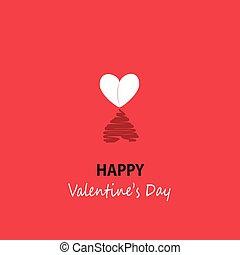lycklig, hälsning, valentinkort, kort, dag