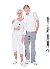 lycklig, hälsosam, äldre koppla