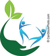 lycklig, hälsosam, folk, logo