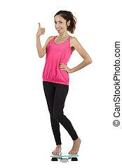 lycklig, hälsosam, viktförlust, kvinna, tumme uppe