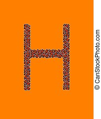 lycklig, halloween, alfabet brev, h