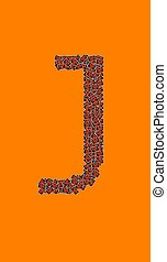 lycklig, halloween, alfabet brev, j