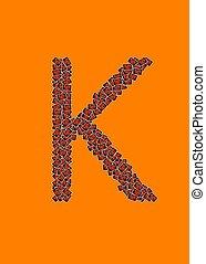 lycklig, halloween, alfabet brev, k