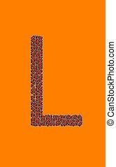 lycklig, halloween, alfabet brev, l